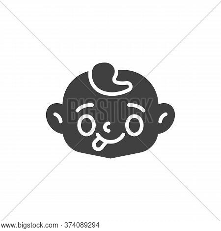 Baby Face Showing Tongue Vector Icon. Filled Flat Sign For Mobile Concept And Web Design. Child Stuc