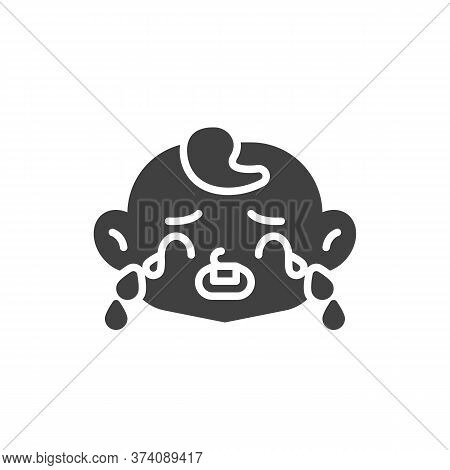 Loudly Crying Baby Face Vector Icon. Filled Flat Sign For Mobile Concept And Web Design. Crying Chil