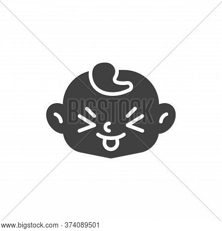 Squinting Face With Tongue Vector Icon. Filled Flat Sign For Mobile Concept And Web Design. Child St