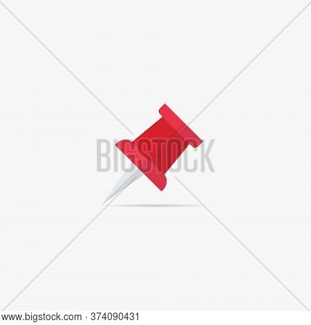 Paper Pin Icon Vector In Trendy Flat Style. Pushpin Symbol Illustration