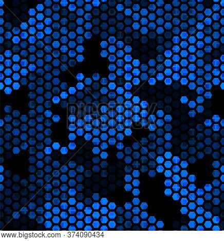 Sapphire Pattern Of Hexagons And Squares. Lime, Green, Black Colors