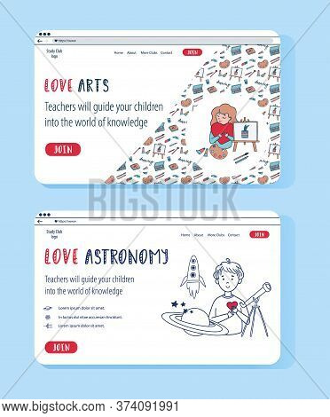 Doodle Set Of Vector Website Templates For Education Online. Astrophysics And Creative Arts For Kids