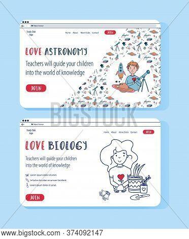 Vector Set Of Astrophysics And Biology Website Templates For Education Online. Doodle Concept Illust