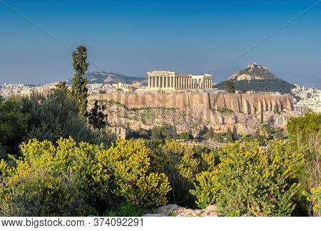 Athens Skyline. The Acropolis Of Athens, With The Parthenon Temple At Sunset, Athens, Greece.