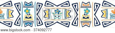 Aztec Style Seamless Border With Forget-me-not Flowers. Bright Blue And Yellow Banner In Ethnic Simp