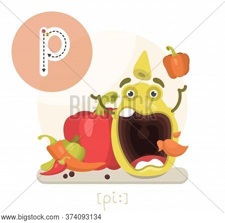 Learning The English Alphabet.funny Cartoon Character Of The Queen With Pumpkins And Letter. The Way