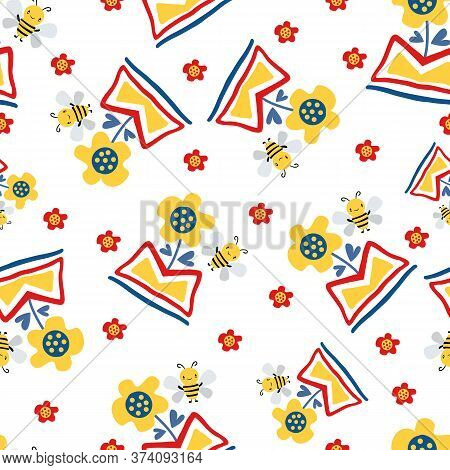 Kawaii Honey Bee And Abstract Daffodil Flower In Aztec Motif Vase. Seamless Vector Pattern Backgroun