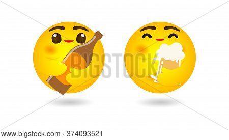 Emoji Emoticon Hugging  Beer Of Mug And Beer Bottle, Emotion, Happy International Beer Day Or Friday