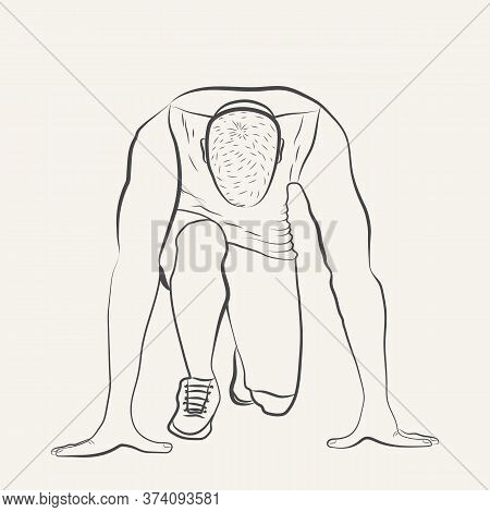 Runner At The Start. Athlete On The Position And Ready To Start. Hand Drawn Sketch Isolated On White