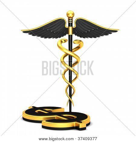 schwarze Caduceus medizinische symbol