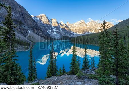 Beautiful Sunrise At Moraine Lake, Banff National Park In The Rocky Mountains, Alberta, Canada.