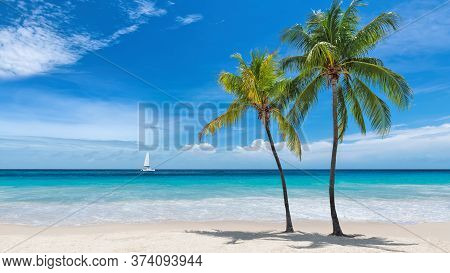 Tropical White Sand Beach With Coco Palms And Sail Boat In The Turquoise Sea On Paradise Caribbean I