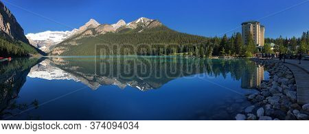 Lake Louise At Sunrise, Mountain Lake In Rocky Mountains, Banff National Park, Canada