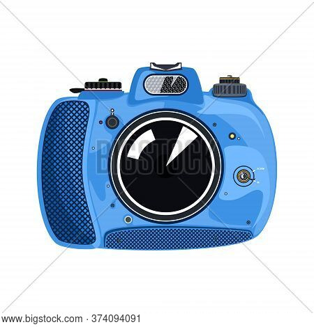 Blue Beautiful Cute Instant Print Camera , Manual Camera Isolated On White Background, Vector Illust