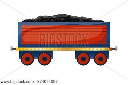 Cute Cartoon Wagon With Coal. Colored Trolley Isolated On White Background. Vector Illustration.