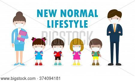 Back To School For New Normal Lifestyle Concept. Happy Students Kids And Teachers Wearing Face Mask