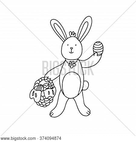 A Cute Easter Bunny With An Egg And A Wicker Basket Full Of Easter Eggs. Hand Drawn Vector Illustrat
