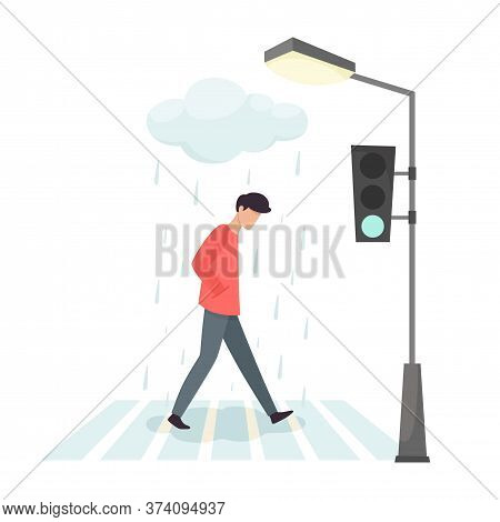 Upset Man Crosses The Road. The Sadness And Annoyance Of Man. Vector Illustration In Cartoon Flat St