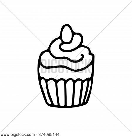 Easter Cupcake Decorated With Whipping Cream And A Little Egg In Doodle Style. Great For Easter Gree