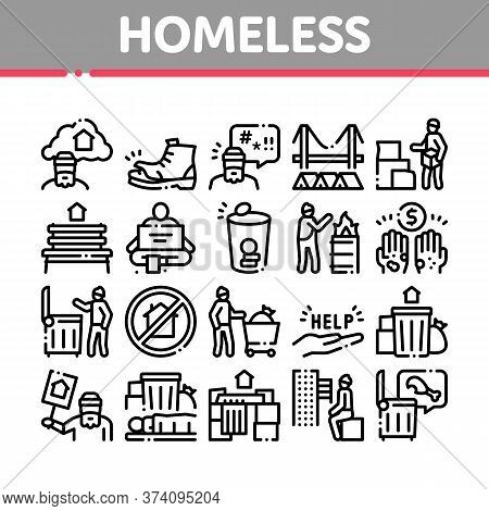 Homeless Beggar People Collection Icons Set Vector. Homelessness And Shoe, Living On Streets Poor Hu