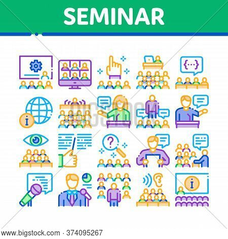 Seminar Conference Collection Icons Set Vector. Seminar In Meeting Room, Online Communication And Pr