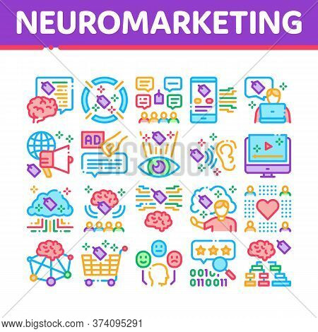 Neuromarketing Business Strategy Icons Set Vector. Neuromarketing Technology And Research Binary Cod