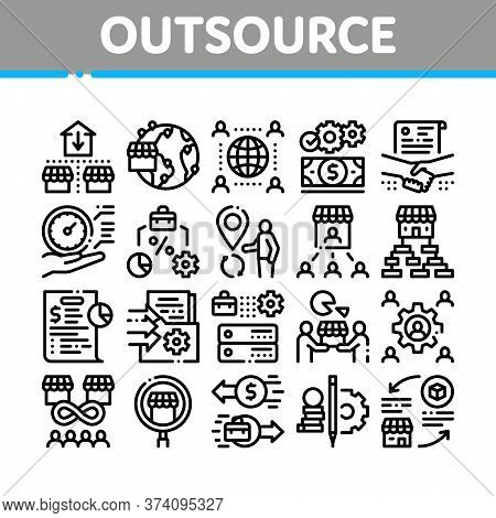 Outsource Management Collection Icons Set Vector. Outsource Team And World Business Process, Agreeme
