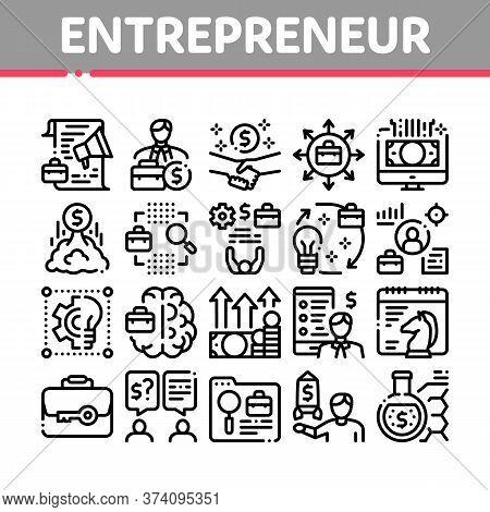 Entrepreneur Business Collection Icons Set Vector. Entrepreneur Businessman And Agreement, Idea And