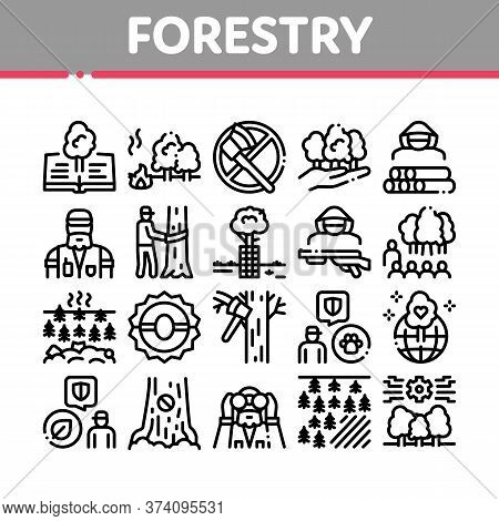 Forestry Lumberjack Collection Icons Set Vector. Forestry Working Equipment And Tree Safe Fence, Ani