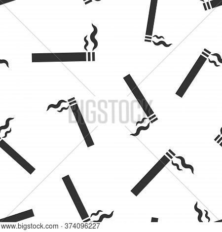 Cigarette Icon In Flat Style. Smoke Vector Illustration On White Isolated Background. Nicotine Seaml