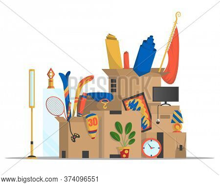 Moving boxes. Concept for home moving. Company moved to new office, home. Paper cardboard boxes with various thing. Family relocated. Delivery box package with various household thing