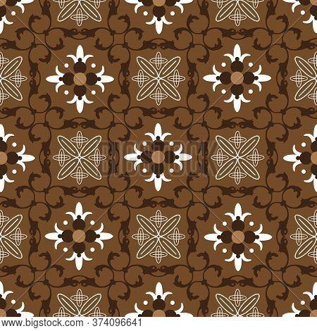 Beautiful Flower Pattern On Solo Batik With Elegant Brown Color Design