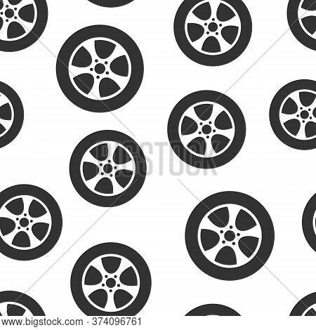 Car Wheel Icon In Flat Style. Vehicle Part Vector Illustration On White Isolated Background. Tyre Se