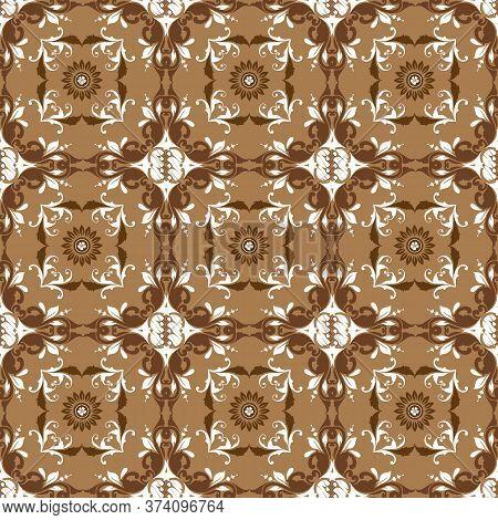 Elegant Style Art Work On Kawung Batik With Seamless Mocca Color Design