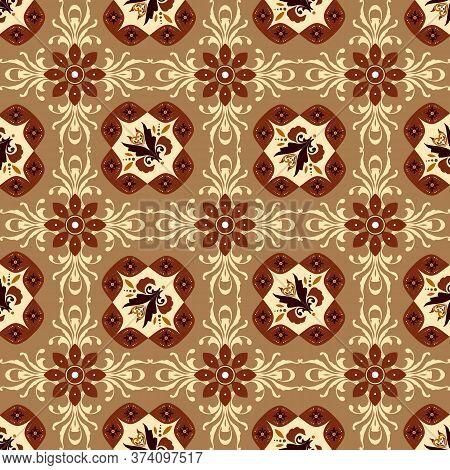 Simple Flower Pattern On Central Java Batik With Mocca Color