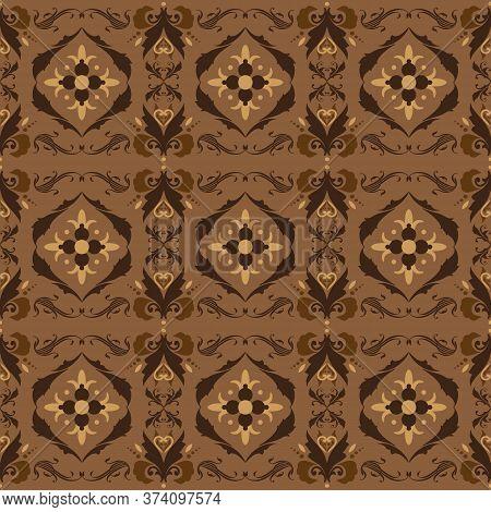 Unique Indonesia Batik Pattern With Dark Brown Color Design