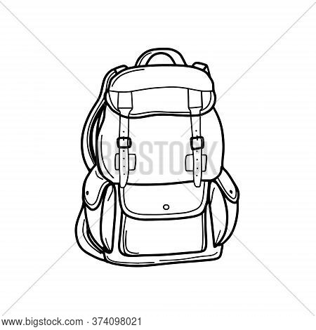 Tourist Backpack For Traveling And Hiking. Luggage Bag For Transportation. A School Backpack Or A Sa