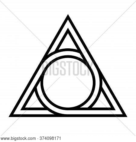 Geometrical Figure Circle Inscribed In A Triangle, The Vector Logo Tattoos Mythological Symbol Round