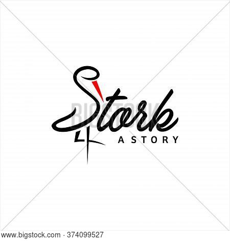 Stork Logo Simple Black Typography Standing Vector For Animal Corporate Graphic Design Or Print Art