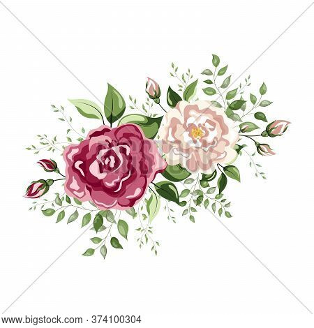 Floral Decorations With Flowers Pink Peony, White Rose, Colorful Inflorescence Hydrangea. Spring Or