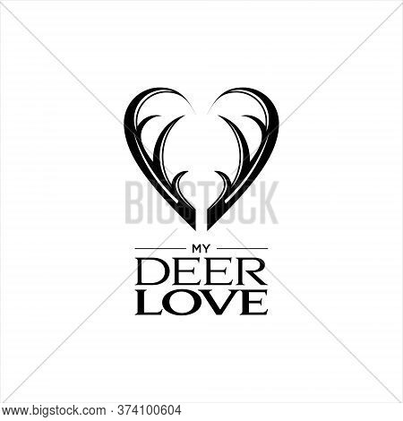 Antler Logo Simple Modern Black Flat Color Vector For Decorative Animal Graphic Design Idea Or Print