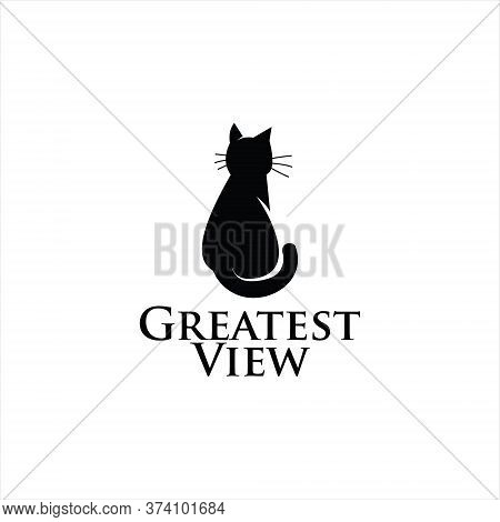 Simple Black Modern Cat Silhouette Vector For Animal Care Or Veterinary Logo Design And Icon Templat