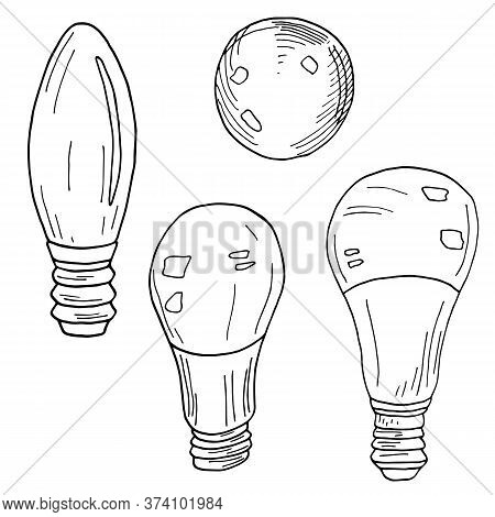 Set Of Vector Light Bulbs. Hand Drawn Led Lamps Isolated On White Background. Outline Black And Whit