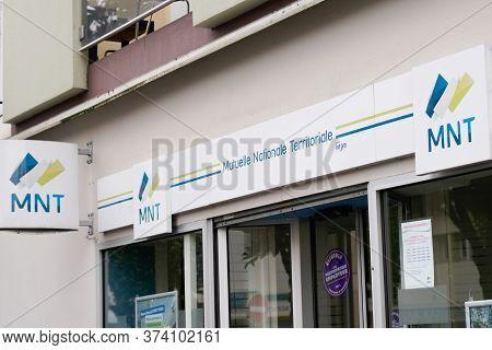 Bordeaux , Aquitaine / France - 02 21 2020 : Mnt Sign Logo Mutual Insurance Company For Civil Servan