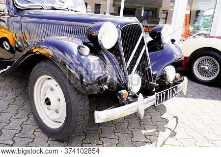 Bordeaux , Aquitaine / France - 06 20 2020 : Traction Citroen Front View Of Retro Vintage Car