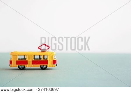 Small Toy Yellow-red Tram, Place For Text 1