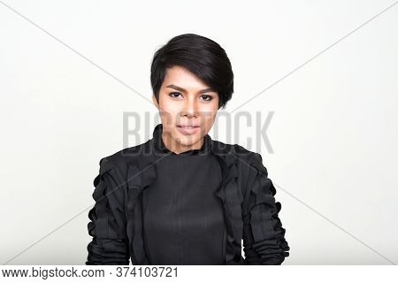 Face Of Young Asian Businesswoman With Short Hair