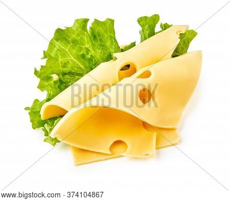 Cheese Slices With Salad Leaves Isolated On White Background. Maasdam Cheese.