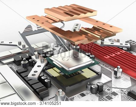 Motherboard With Processor And Cooling System In Disassembled Form Isolated On White Background 3d R