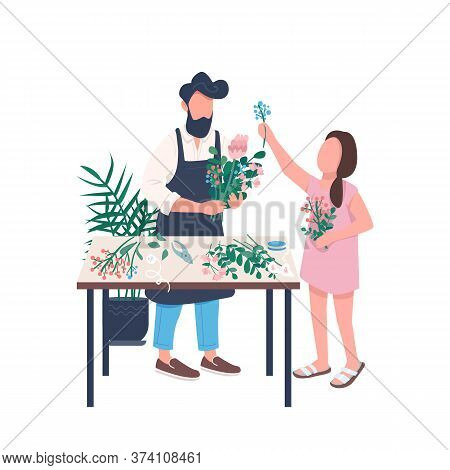 Father Florist With Daughter Flat Color Vector Faceless Character. Flower Shop. Gardening And Plant